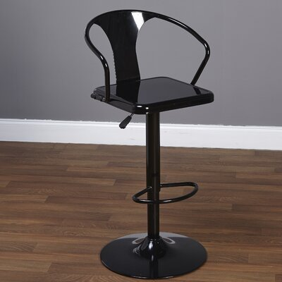 Neagle Adjustable Height Swivel Bar Stool Finish: Black