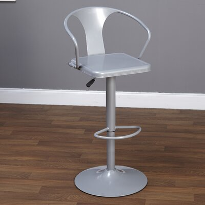 Neagle Adjustable Height Swivel Bar Stool Finish: Silver