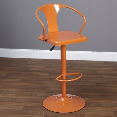 Neagle Adjustable Height Swivel Bar Stool Finish: Orange