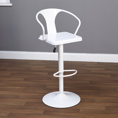 Neagle Adjustable Height Swivel Bar Stool Finish: White
