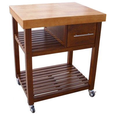 Deason Dining Essentials Kitchen Cart with Butcher Block Top Finish: Cinnamon