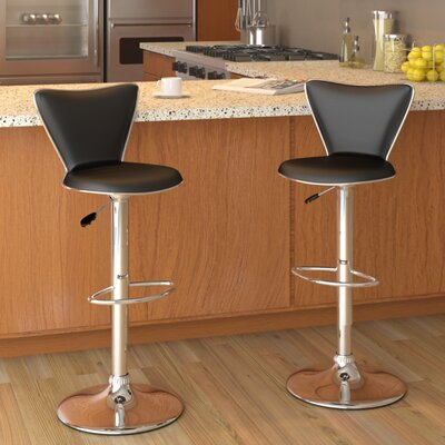 Honea Adjustable Height Swivel Bar Stool Upholstery: Black