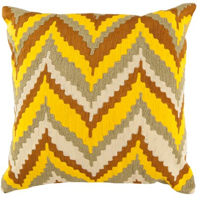 Stallworth Cotton Throw Pillow Size: 18 H x 18 W x 4 D, Color: Peanut Butter / Sunglow Orange / Moss / Yellow, Filler: Down