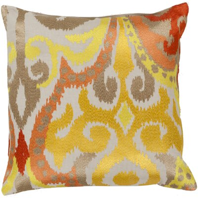 Chamberland Throw Pillow Size: 18 H x 18 W x 4 D, Color: Golden Yellow / Poppy Red, Filler: Down