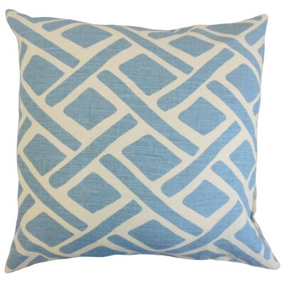 Moton Geometric Linen Throw Pillow Color: River, Size: 18