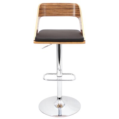 Biles Swivel Bar Stool Upholstery: Zebra / Brown
