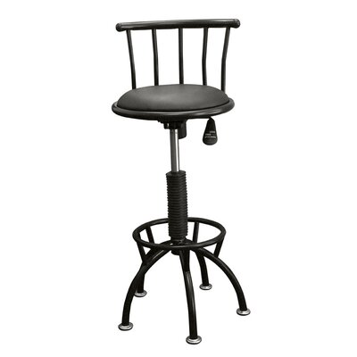 Moline Adjustable Height Swivel Bar Stool Color: Black
