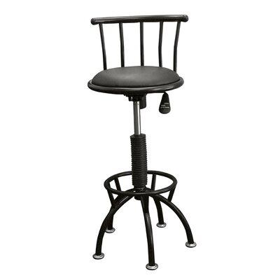 Moline Adjustable Height Swivel Bar Stool with Cushion Frame Finish: Black