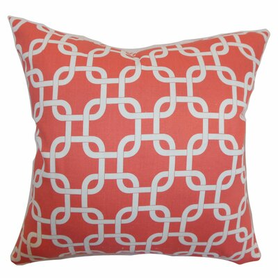 Sessums 100% Cotton Throw Pillow Color: Coral White, Size: 18 H x 18 W