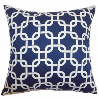 Sessums Geometric 100% Cotton Throw Pillow Color: Blue Twill, Size: 18 H x 18 W
