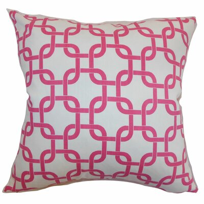 Sessums Geometric 100% Cotton Throw Pillow Color: White Candy Pink, Size: 18 H x 18 W