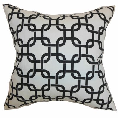 Sessums 100% Cotton Throw Pillow Color: White Black, Size: 18 H x 18 W