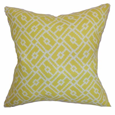 Ellefson Cotton Throw Pillow Color: Canary, Size: 18x18