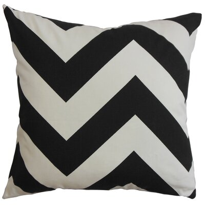 Spadafora 100% Cotton Throw Pillow Color: Black / White, Size: 18 H x 18 W
