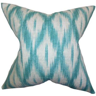 Maselli Ikat Cotton Throw Pillow Size: 18x18, Color: CARRIBEAN