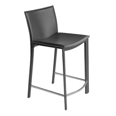 Lucier 25.5 inch Bar Stool with Cushions Finish: Dark Grey