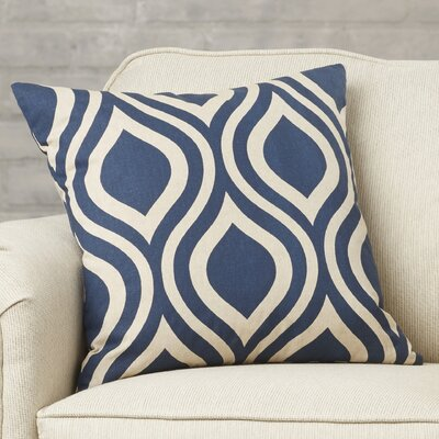 Brock 100% Cotton Throw Pillow Color: Indigo, Size: 18 H x 18 W