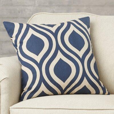 Brock Geometric Cotton Throw Pillow Color: Indigo, Size: 18