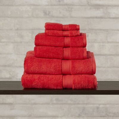 Styliani 900 GSM 6 Piece Premium Long Staple Combed Cotton Towel Set Color: Red