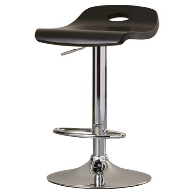Barron Adjustable Height Swivel Bar Stool Upholstery: Black