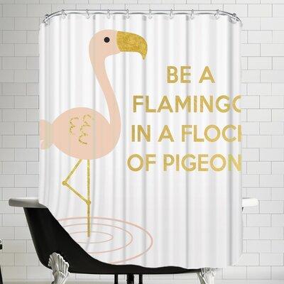 Peach & Gold Be A Flamingo Shower Curtain