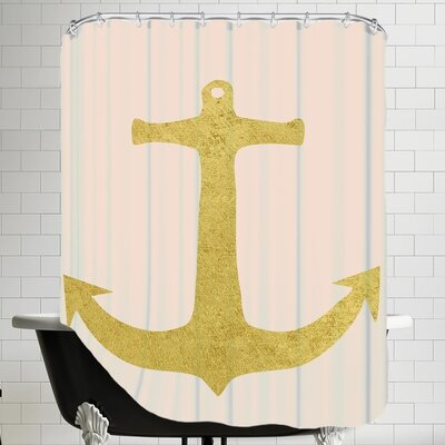 Peach & Gold Anchor Shower Curtain