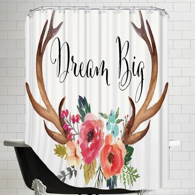 Amy Brinkman Dream Big Antlers C Shower Curtain Color: Cream