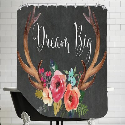 Amy Brinkman Dream Big Antlers C Shower Curtain Color: Chalkboard