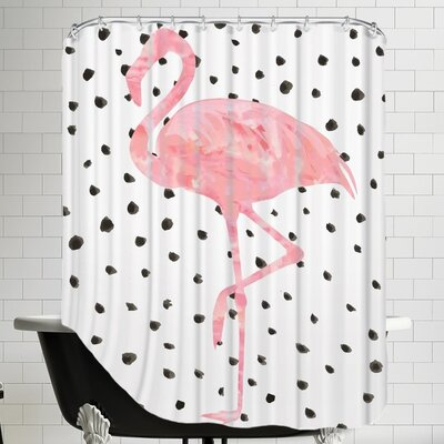 Peach & Gold Pink Flamingo on Polka Dots Shower Curtain