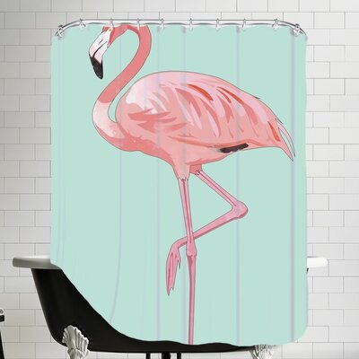 Peach & Gold Flamingo Shower Curtain