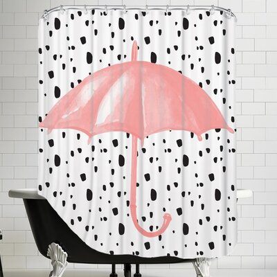 Peach & Gold Umbrella on Polka Dots Shower Curtain