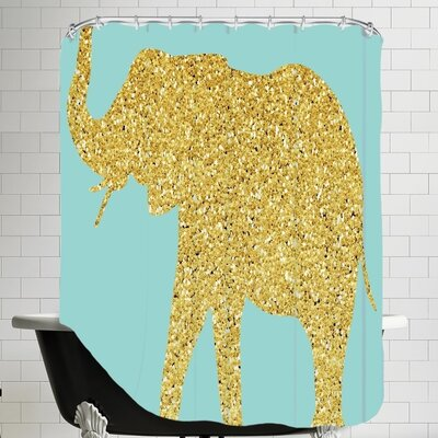 Peach & Gold C Elephant Shower Curtain Color: Gold Glitter / Blue
