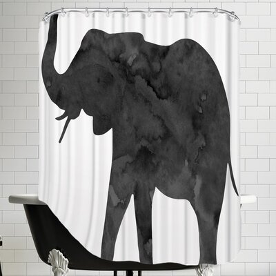 Peach & Gold C Elephant Shower Curtain Color: Black / White