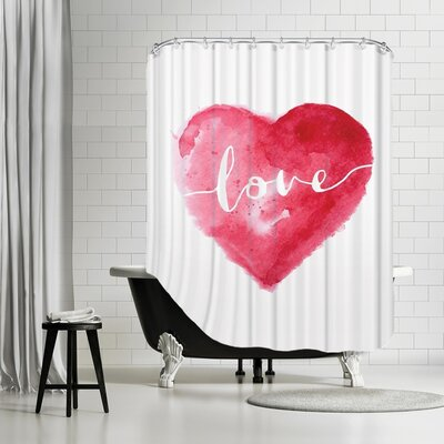 Brett Wilson Love Heart Cursive Shower Curtain