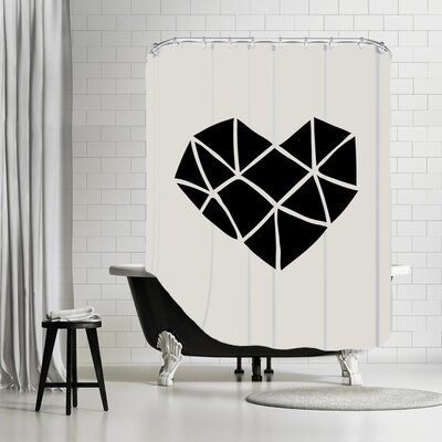 Brett Wilson Polygon Heart Shower Curtain