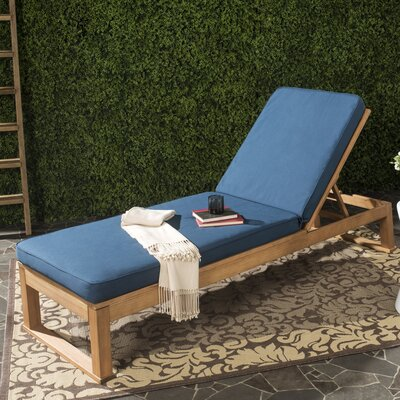 Guion Chaise Lounge with Cushion Fabric: Navy