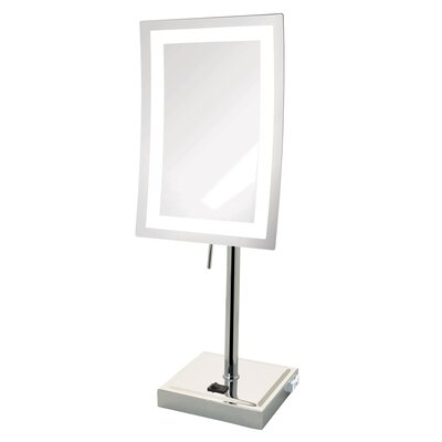 5X Magnified Lighted Tabletop Rectangular Mirror