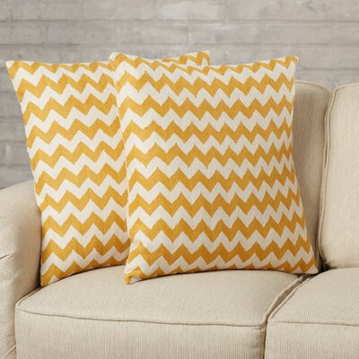 Jeramiah 100% Cotton Throw Pillow Size: 22 H x 22 W x 2.5 D, Color: Mustard
