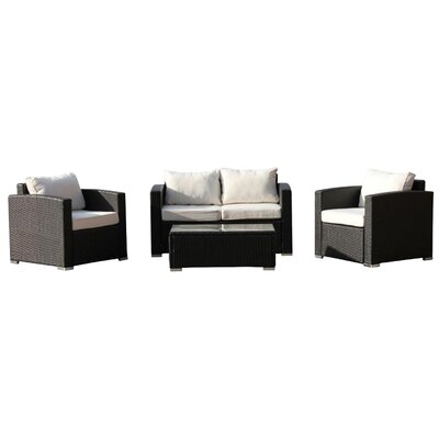 Carlo 4 Piece Deep Seating Group with Cushion