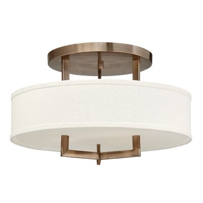 Hampton 3 Light Semi Flush Mount Size: 12 H x 20 W, Bulb Type: FSI