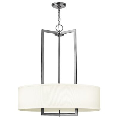 Hampton 3-Light Drum Pendant Finish: Antique Nickel, Bulb Type: Incandescent, Size: 30.3 H x 26 W x 26 D