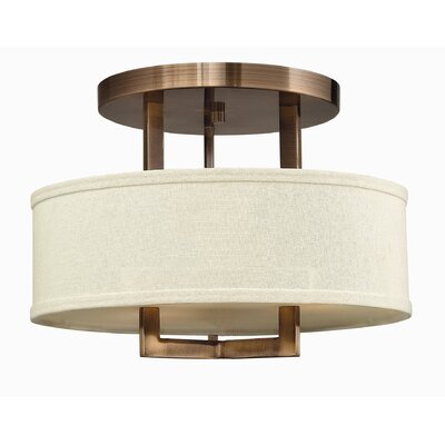 Allenhurst 3-Light Semi-Flush Mount Finish: Brushed Bronze, Bulb Type: Incandescent
