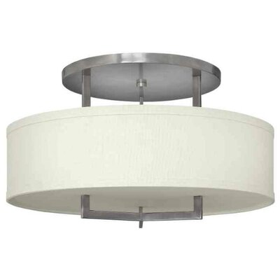 Allenhurst 3-Light Semi-Flush Mount Finish: Antique Nickel, Bulb Type: Incandescent