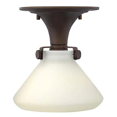 Bunnell 1-Light Glass Shade Semi Flush Mount Size: 9.5 H x 8 W, Finish: Oil Rubbed Bronze