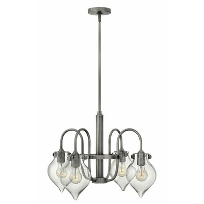 Bunnell 4-Light Shaded Chandelier with Hand Blown Glass Shade Finish: Antique Nickel