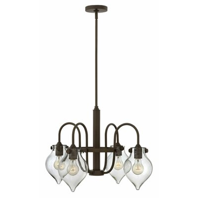 Bunnell 4-Light Shaded Chandelier with Hand Blown Glass Shade Finish: Oil Rubbed Bronze