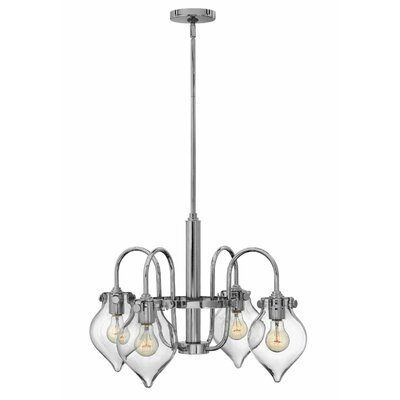 Bunnell 4-Light Shaded Chandelier with Hand Blown Glass Shade Finish: Chrome