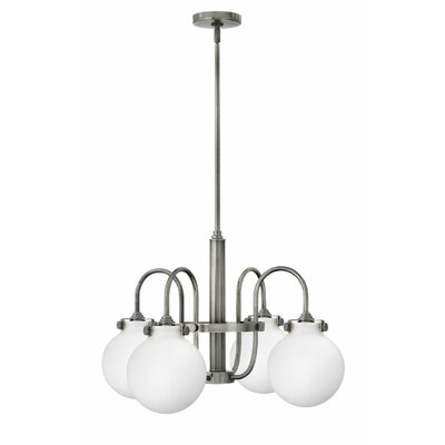 Bunnell 4-Light Globe Shaded Chandelier Finish: Antique Nickel