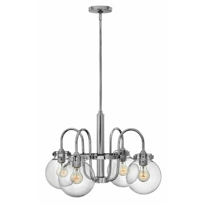 Bunnell Traditional 4-Light Shaded Chandelier Finish: Chrome