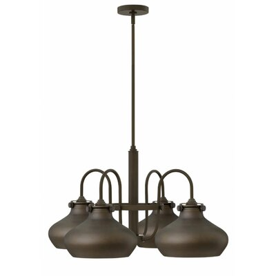 Bunnell 4 Light Shaded Chandelier Finish: Oil Rubbed Bronze